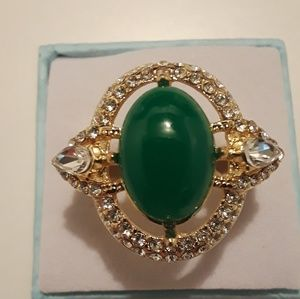 Gold tone Jade ring size 8 new